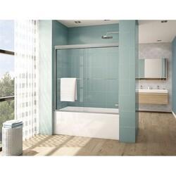 FLEURCO CLT60-40 CORDOBA PLUS 56-60 W X 60 H INCH BYPASS SEMI-FRAMELESS SLIDING TUB DOOR WITH 3/8 INCH CLEAR GLASS