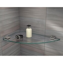 FLEURCO GSK17R 17-3/8 INCH ROUND LARGE CORNER GLASS SHELF