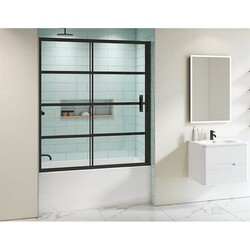 FLEURCO LAT60-33-43 LATITUDE 60 W X 66 H INCH MATTE BLACK TUB ENCLOSURE SLIDING DOOR AND FIXED PANEL WITH 5/16 INCH CLEAR GLASS WITH BLACK SILK SCREEN