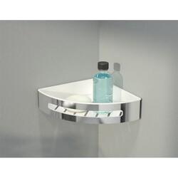 FLEURCO VAC0808-18-11 AURORA 8-1/8 INCH CORNER SHOWER SHELF IN WHITE/CHROME