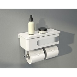 FLEURCO VE1005-18-11 ELOQ 11 INCH SHELF AND DRAWER WITH DOUBLE TOILET PAPER HOLDER IN WHITE/CHROME