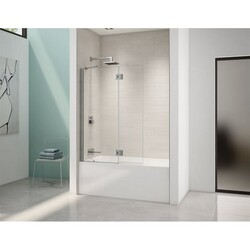 FLEURCO VMSXT24-40 SELECT MONACO 40-41 W X 59-1/2 H INCH WALK-IN SQUARE TOP SHOWER SHIELD WITH FIXED PANEL, SUPPORT BAR AND 3/8 INCH CLEAR GLASS