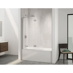 FLEURCO VQRXT24-40 SELECT MONACO 40-41 W X 59-1/2 H INCH WALK-IN ROUND TOP SHOWER SHIELD WITH FIXED PANEL, SUPPORT BAR AND 3/8 INCH CLEAR GLASS