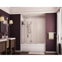 FLEURCO VSH24-40 MONACO 40-41 W X 58 H INCH WALK-IN ROUND TOP TUB SHIELD WITH FIXED PANEL AND 1/4 INCH CLEAR GLASS