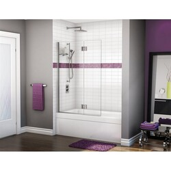 FLEURCO VWXSH24-40 MONACO 40-41 W X 59-1/2 H INCH WALK-IN SQUARE TOP TUB SHIELD WITH FIXED PANEL, SUPPORT BAR AND 3/8 INCH CLEAR GLASS