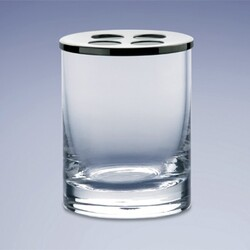 WINDISCH 831251 ADDITION PLAIN ROUND CLEAR CRYSTAL GLASS TOOTHBRUSH HOLDER