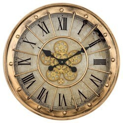 YOSEMITE 5140040 GILDED ROUND GEAR CLOCK