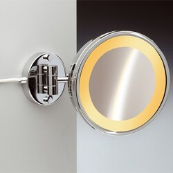 WINDISCH 99153/1 INCANDESCENT MIRRORS WALL MOUNTED ONE FACE LIGHTED BRASS MAGNIFYING MIRROR