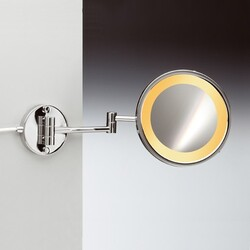WINDISCH 99153/2/D INCANDESCENT MIRRORS WALL MOUNT ONE FACE HARDWIRED LIGHTED BRASS MAGNIFYING MIRROR