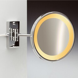 WINDISCH 99157/1 INCANDESCENT MIRRORS WALL MOUNT BRASS ONE FACE LIGHTED 3X, 5X MAGNIFYING MIRROR