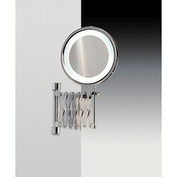 WINDISCH 99288 MIRRORS WITH LED TECHNOLOGY WALL MOUNTED BRASS LED MIRROR WITH MAGNIFICATION
