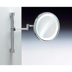 WINDISCH 99289 WALL MOUNTED BRASS LED MIRROR WITH MAGNIFICATION