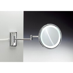 WINDISCH 99250/D WARM LIGHT WALL MOUNTED BRASS LED DIRECT WIRE WARM LIGHT MIRROR WITH MAGNIFICATION