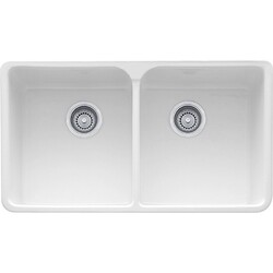 FRANKE MHK720-35 MANOR HOUSE 35 INCH APRON FRONT DOUBLE BOWL FIRECLAY SINK