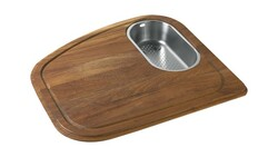 FRANKE VN-45SP VISION SOLID WOOD CUTTING BOARD WITH STAINLESS STEEL COLANDER