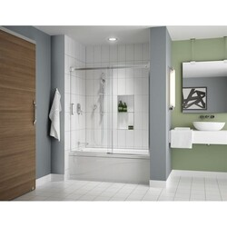FLEURCO NAT60-40 APOLLO 57-60 W X 60 H INCH TUB ENCLOSURE IN-LINE SLIDING DOOR AND FIXED PANEL WITH 1/4 INCH CLEAR GLASS