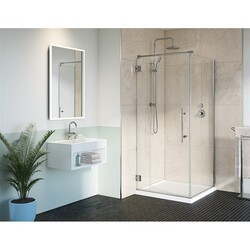FLEURCO PMQ3648-40-79 PLATINUM CUBE 36 W X 79 H INCH DOOR WITH 48 INCH RETURN PANEL AND 3/8 INCH CLEAR GLASS