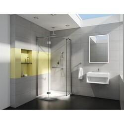 FLEURCO PJNA38-40 PURA NEO 38 W X 75 H INCH NEO-ANGLE PIVOT DOOR WITH GLASS TO GLASS HINGES AND 1/4 INCH CLEAR GLASS