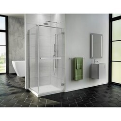 FLEURCO PJC3232-40 PURA CUBE 32 W X 75 H INCH SHOWER DOOR WITH RETURN PANEL, WALL-MOUNT HINGES AND 1/4 INCH CLEAR GLASS