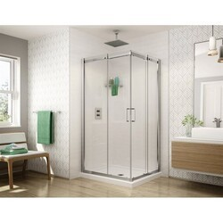 FLEURCO STC4236-40 APOLLO SQUARE 42 W X 75 H INCH SEMI-FRAMELESS CORNER ENTRY SLIDING DOOR WITH 1/4 INCH CLEAR GLASS