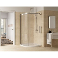 FLEURCO NOVARC362-40R NOVARA ARC 36 W X 79 H INCH RIGHT CURVED DOOR GLASS DOOR AND PANEL WITH 5/16 INCH CLEAR GLASS
