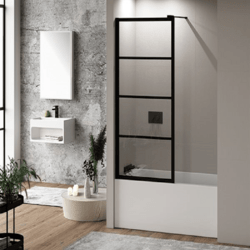 FLEURCO LAVT-33-43 LATITUDE 66 H INCH MATTE BLACK WALK-IN FIXED TUB SHIELD WITH 5/16 INCH CLEAR GLASS WITH BLACK SILK SCREEN