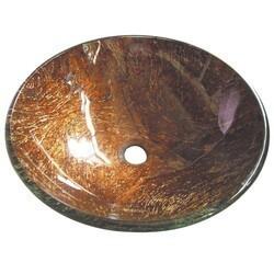 KINGSTON BRASS EVSPFD1 FAUCETURE TRIESTE 16-1/2 INCH DIAMETER ROUND VESSEL GLASS SINK IN AMBER BRONZE