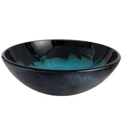 KINGSTON BRASS EVSPFH6 FAUCETURE TURQUOISE SPACE 16-1/2 INCH DIAMETER ROUND GLASS SINK IN TURQUOISE GREEN