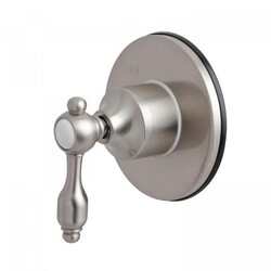 KINGSTON BRASS KS3038TAL THREE-WAY DIVERTER VALVE WITH SINGLE HANDLE AND ROUND PLATE IN BRUSHED NICKEL
