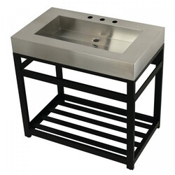 KINGSTON BRASS KVSP3722A FAUCETURE 37 INCH STAINLESS STEEL SINK WITH IRON BATHROOM CONSOLE SINK BASE
