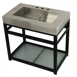 KINGSTON BRASS KVSP3722B FAUCETURE 37 INCH STAINLESS STEEL SINK WITH IRON BATHROOM CONSOLE SINK BASE