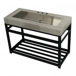 KINGSTON BRASS KVSP4922A FAUCETURE 49 INCH STAINLESS STEEL SINK WITH IRON BATHROOM CONSOLE SINK BASE