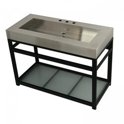 KINGSTON BRASS KVSP4922B FAUCETURE 49 INCH STAINLESS STEEL SINK WITH IRON BATHROOM CONSOLE SINK BASE