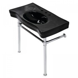 KINGSTON BRASS VPB136K1ST IMPERIAL 35.81 INCH CONSOLE SINK BASIN WITH STAINLESS STEEL LEG IN BLACK/POLISHED CHROME