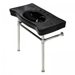 KINGSTON BRASS VPB136K6ST IMPERIAL 35.81 INCH CONSOLE SINK BASIN WITH STAINLESS STEEL LEG IN BLACK/POLISHED NICKEL