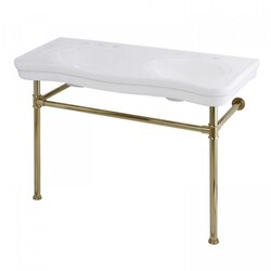 KINGSTON BRASS VPB14882ST IMPERIAL 47-INCH DOUBLE BOWL CONSOLE SINK WITH STAINLESS STEEL LEG IN POLISHED BRASS