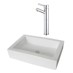 KINGSTON BRASS EV4335KS8411DL PACIFICA VESSEL SINK AND FAUCET COMBO IN WHITE
