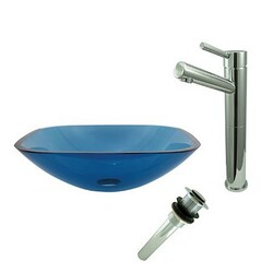 KINGSTON BRASS EVSQFB4S8411 SQUARE TEMPERED GLASS BLUE VESSEL SINK WITH FAUCET AND DRAIN COMBO IN TOPAZ BLUE