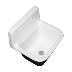KINGSTON BRASS GCKWS221822 FAUCETURE PETRA GALLEY 22 INCH WALL MOUNT SINGLE BOWL KITCHEN SINK IN WHITE