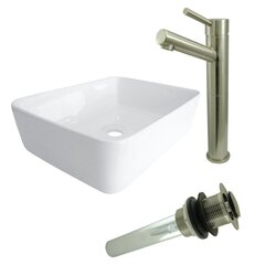 KINGSTON BRASS EV5102S84 VESSEL SINK WITH CONCORD SINK FAUCET AND DRAIN COMBO