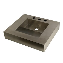 KINGSTON BRASS GLTS25225 FAUCETURE SINGLE-BOWL LAVATORY WASH BASIN IN STAINLESS STEEL