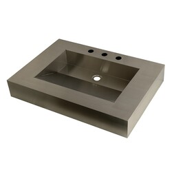 KINGSTON BRASS GLTS31225 FAUCETURE SINGLE-BOWL LAVATORY WASH BASIN IN STAINLESS STEEL