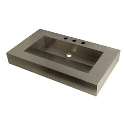 KINGSTON BRASS GLTS49225 FAUCETURE SINGLE-BOWL LAVATORY WASH BASIN IN STAINLESS STEEL