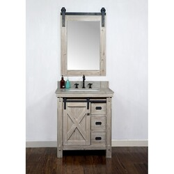 INFURNITURE WK8530+CS SQ TOP 30 INCH RUSTIC SOLID FIR BARN DOOR STYLE SINGLE SINK VANITY WITH COASTAL SANDS MARBLE TOP WITH RECTANGULAR SINK-NO FAUCET IN DRIFTWOOD