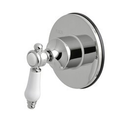 KINGSTON BRASS KS3031BPL THREE-WAY DIVERTER VALVE WITH SINGLE HANDLE AND ROUND PLATE IN POLISHED CHROME