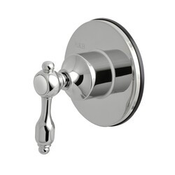 KINGSTON BRASS KS3031TAL THREE-WAY DIVERTER VALVE WITH SINGLE HANDLE AND ROUND PLATE IN POLISHED CHROME