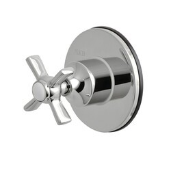 KINGSTON BRASS KS3031ZX THREE-WAY DIVERTER VALVE WITH SINGLE HANDLE AND ROUND PLATE IN POLISHED CHROME