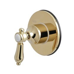 KINGSTON BRASS KS3032BAL THREE-WAY DIVERTER VALVE WITH SINGLE HANDLE AND ROUND PLATE IN POLISHED BRASS