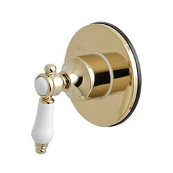 KINGSTON BRASS KS3032BPL THREE-WAY DIVERTER VALVE WITH SINGLE HANDLE AND ROUND PLATE IN POLISHED BRASS