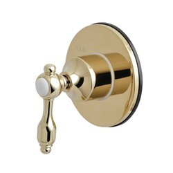 KINGSTON BRASS KS3032TAL THREE-WAY DIVERTER VALVE WITH SINGLE HANDLE AND ROUND PLATE IN POLISHED BRASS